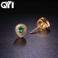 QYI Gemstone 0.276 CT Pear Cut Natural Diamond Earrings 18K Yellow Gold Diamond Fine Jewelry Earring Studs