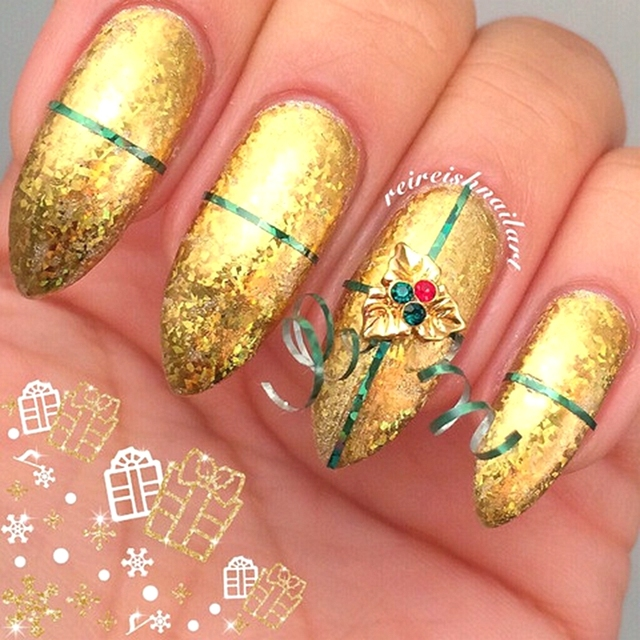 10pcs Adorable Gold Holiday Holly Christmas Charm 3d Alloy