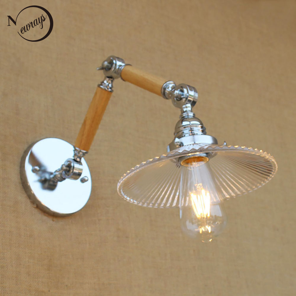 modern adjustable swing arm wood glass shade wall lamp reading E27/E26 led vintage light  for workroom bedroom living room bar american style modern chorme wall lamp swing arms bedroom light bar vintage robot arm wall lamp sconces luces decorativas lamba