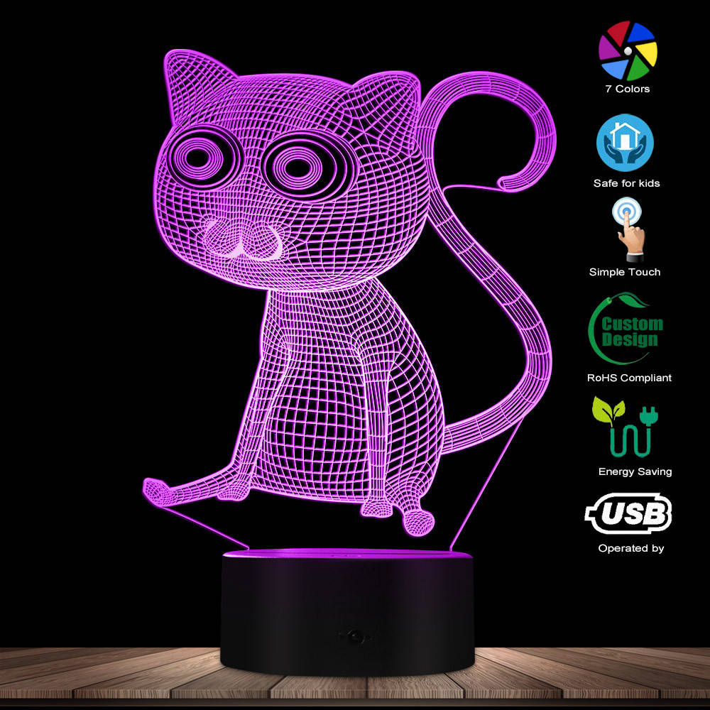 Kitty Cat Animals 3D Visual Table Lamp LED Cat Bedroom Sleepy Desk Decorative Light Children Night Light Kitten Cat LED Light