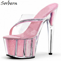 Sorbern Pink Women Slippers Platform High Heels Transparent Plastic Sandals For Women Summer Unisex Shoes Cross Dressing Slides