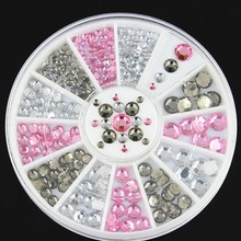 DIY nail art decorations Wheel white pink AB crystal Acrylic Nail Glitter Rhinestones
