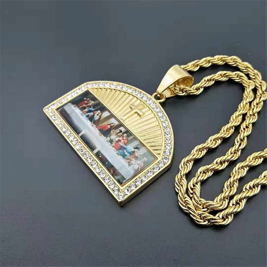 Iced Out The Last Supper Pendant Necklace Male Gold Color Stainless Steel Cross Necklaces For Men Religious Jewelry in Pendant Necklaces from Jewelry Accessories