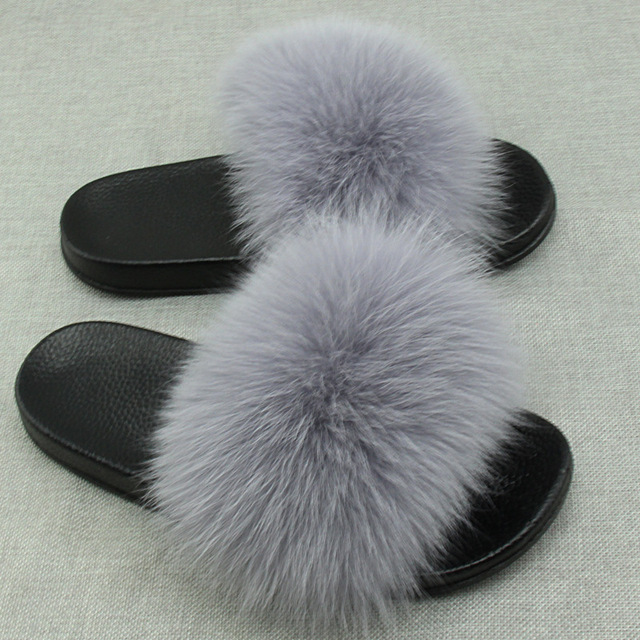 0345f25378f7 Real Fox Fur Slides Plus Size Summer 2018 Open Toe Fluffy Real Hair Slippers  Casual Black Slip On Flip Flops Furry Shoes