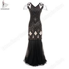 New Flapper Dresses Long Vintage Great Gatsby 1920s Beaded Sequins Women V Neck Sexy Party Dress Banquet Art Deco Double Costume