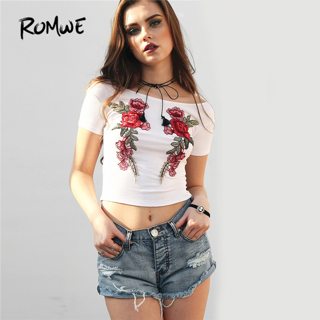 ROMWE Boat Neckline Embroidered Appliques Crop Ribbed Tee Shirt 2018 White  Floral Boat Neck Top Short