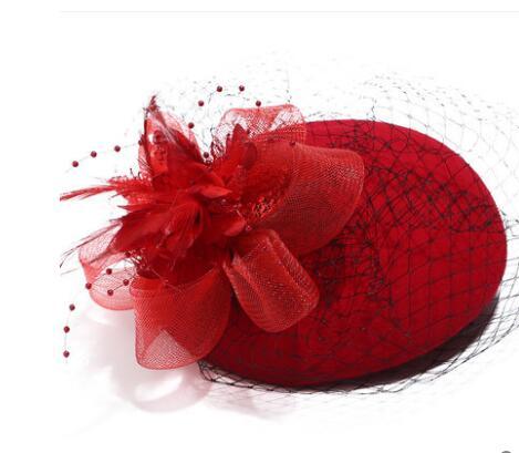 45fab3921 US $22.24 11% OFF|Brand Australian Wool Beret Hat For Women Fashion Autumn  Feather Mesh Fedora Wedding Hat White Red Wool Felt Fedora Winter Hats-in  ...