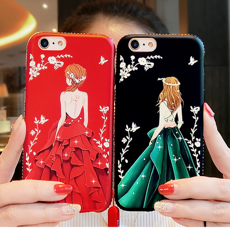 New For Huawei Honor 4X 5X 6X 7X 8X 8A 9i 10 Lite Max Red Painted Embossed with Diamond Female Models Back Goddess Phone Shell