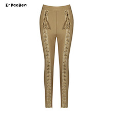 Winter Women Runway Leggings Bandage Pants Black White Olive Apricot Stereo Jacquard Celebrity Party Bodycon