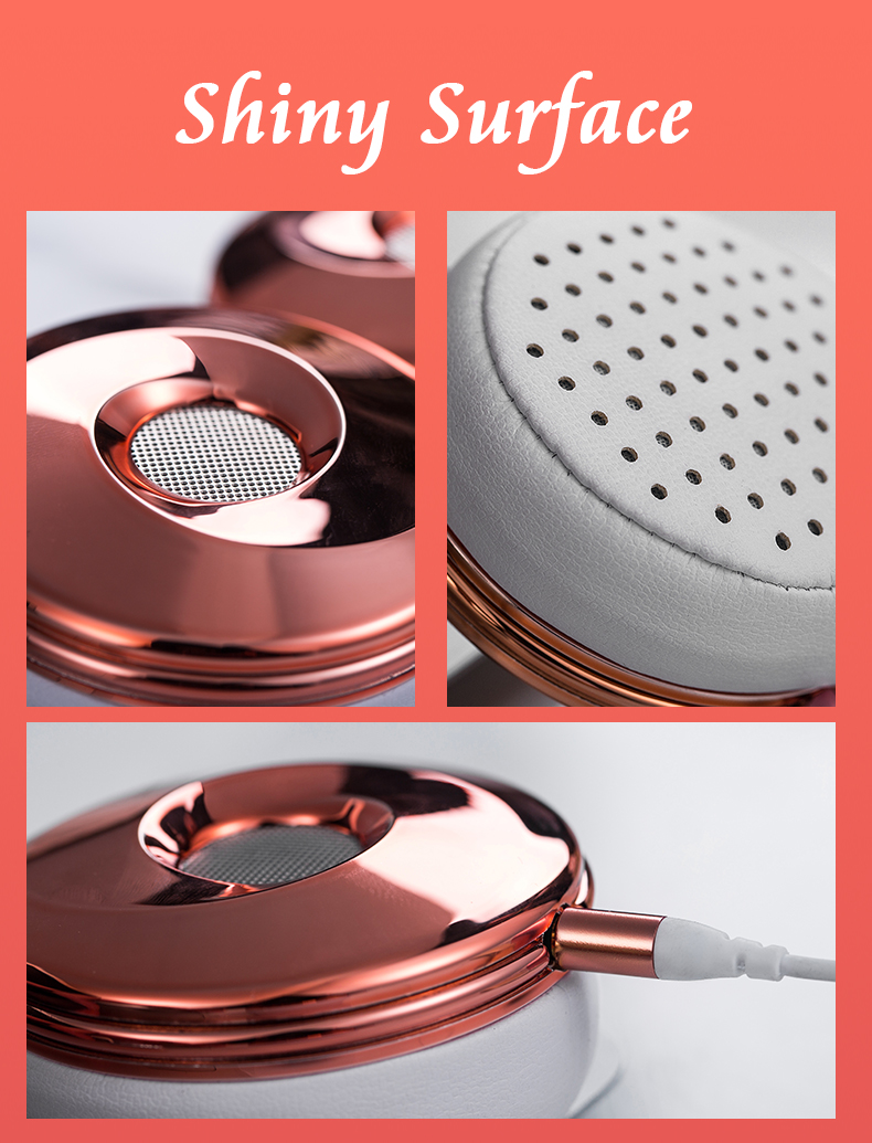 Liboer Headphones Wired On-ear Stereo Headphones for Mobile Phone Best Foldable Headset High Quality Rose Gold Headphone _13