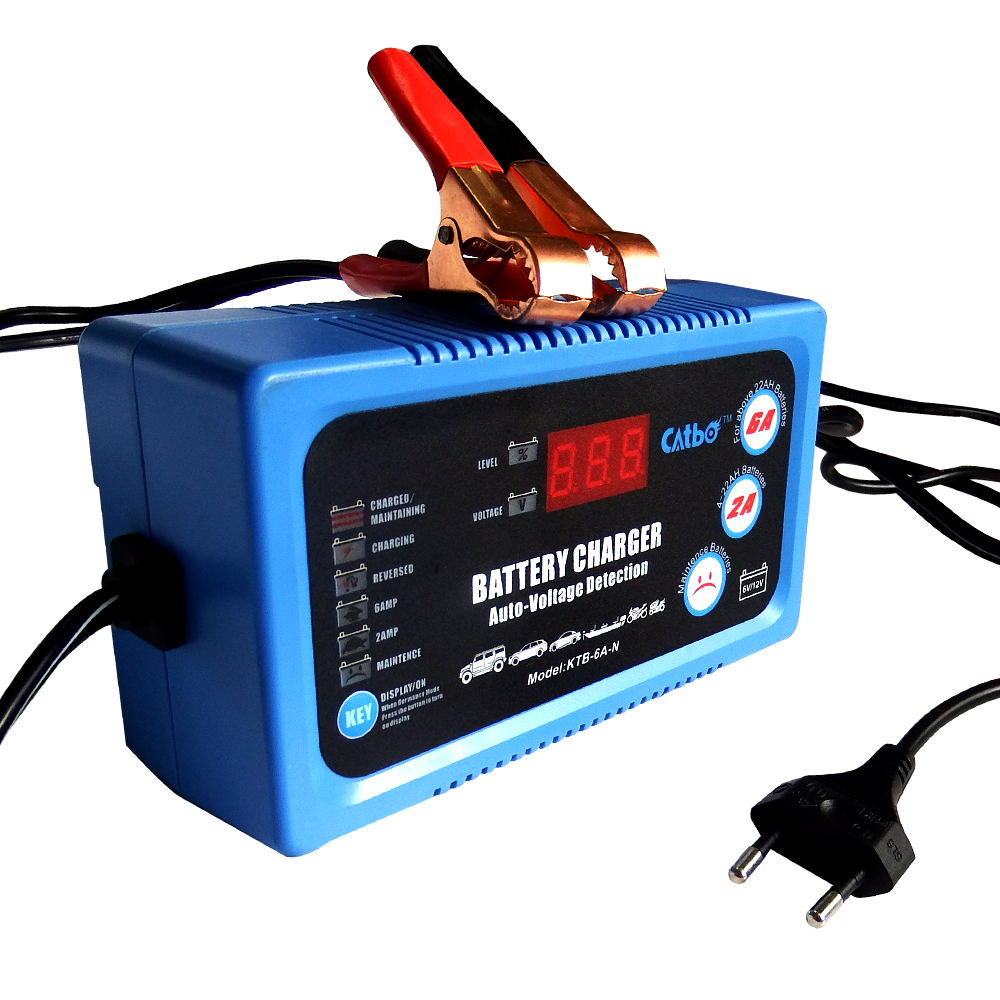 CATBO Car Battery Charger 6V12V 2A6A Fully automatic Car motorcycle battery charger LED Display Automatic