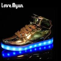 Mens ilumina led luminoso zapatos de alta Top Zapatos de Oro de La Astilla zapatos luminosos resplandor LED de carga USB Unisex adultos neón DD-62 baske