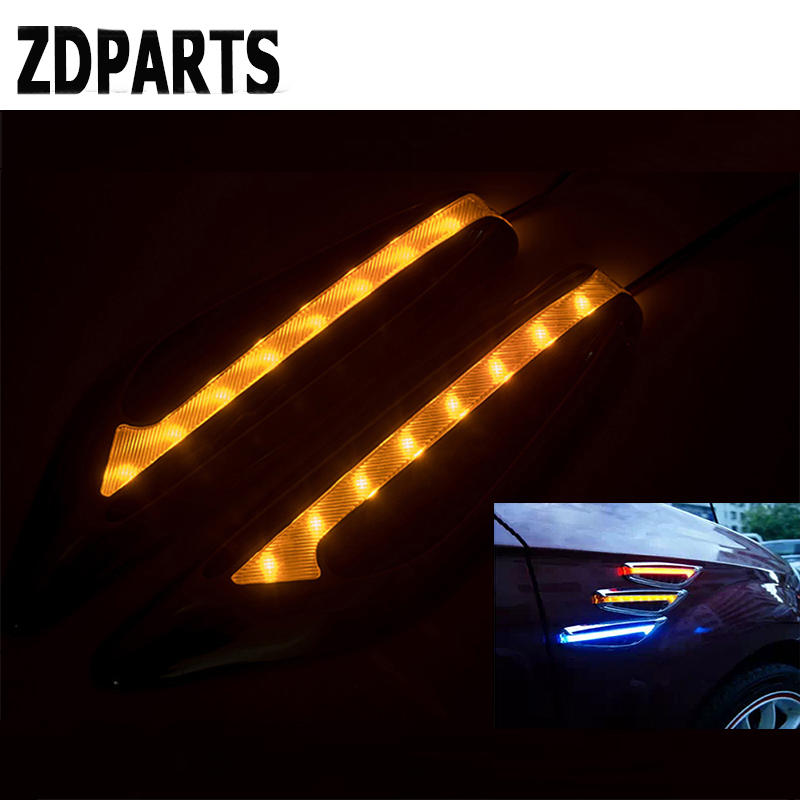 ZDPARTS Car Fender Side Air Vent Trim Warning LED Sticker For Opel Astra J G Insignia Vectra c Peugeot 307 206 308 407 207 3008 for 2014 opel astra j window visor vent shades sun rain deflector guard awnings protector exterior car styling accessories
