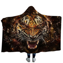 Tiger Hooded Blanket For Adults Childs Cartoon 3D Printed Warm Fleece Portable Wearable Throw Home Travel