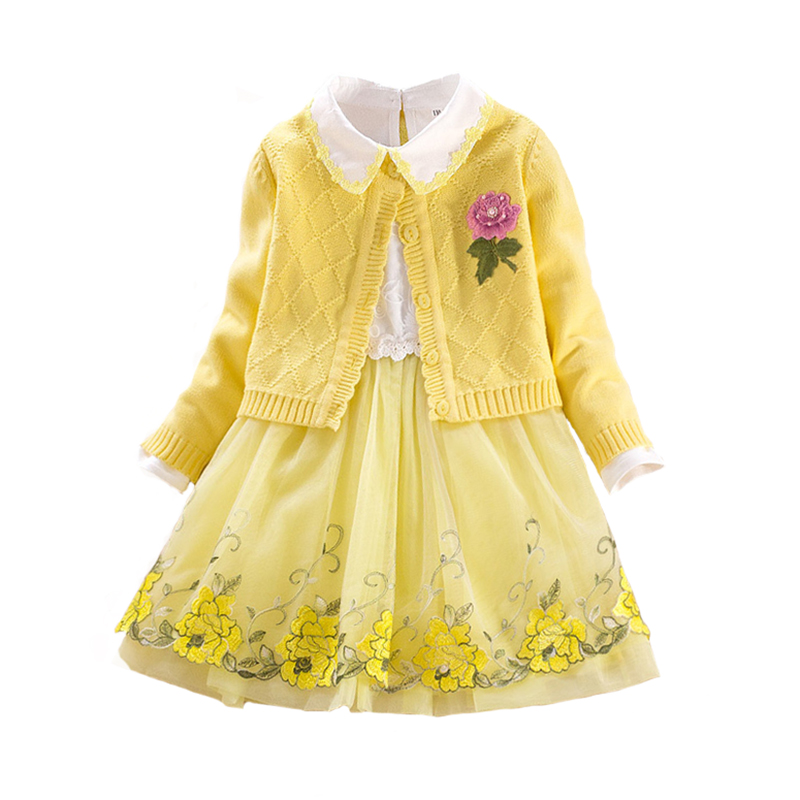 Children's Sets Autumn Floral Girls Cotton Coat+girls Lace Dress 2pcs Baby Long Sleeve Embroidery Princess Clothing for 3y-8y uniquewho girls women floral denim shirt dress birds flowers embroidery dress long sleeve elastic waist ankle length shirtdress