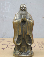 7China Folk Bronze Confucius Kong Zi Sage Confucianism educator Statue