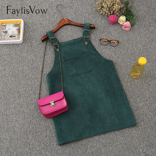 Осень ретро вельветовое платье на подтяжках обувь для девочек повседневное Свободный жилет комбинезон сарафан для женщин натуральны
