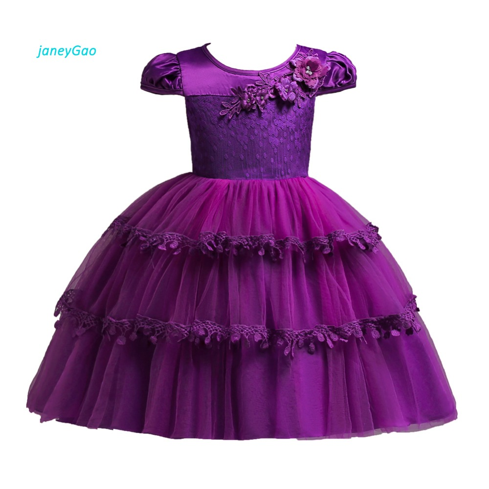 JaneyGao   Flower     Girl     Dresses   For Wedding Party Elegant Little   Girl   Formal   Dress   White Pink Purple 6 Colors With Short Sleeves