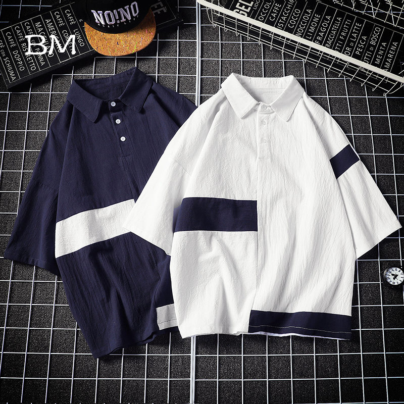 2019 fashions   polo   shirt men Patchwork Contrast Color teenager Summer modis mens clothing Short Sleeve   Polos   5XL streetwear