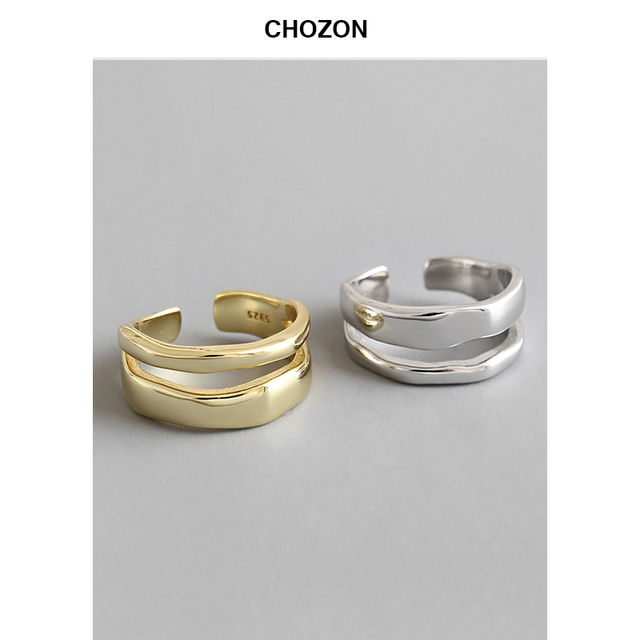 Korean S925 Silver jewelry INS Irregular Line Double Layer Opening adjustable Ring woman silver jewelry