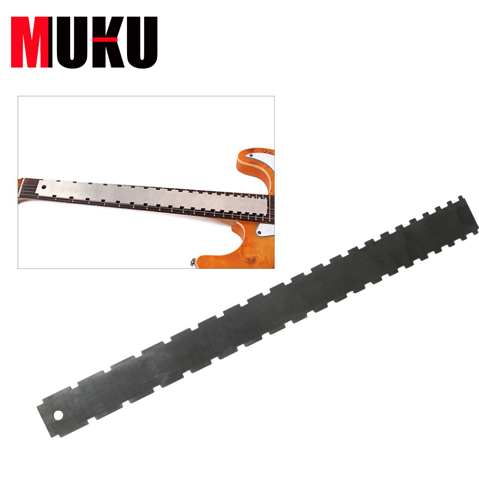 MUKU Guitar Neck Notched Ruler Tool Silver Stainless Steel Guitar Neck Notched Straight Edge Tool Guitarra Accessories stainless steel cuticle removal shovel tool silver