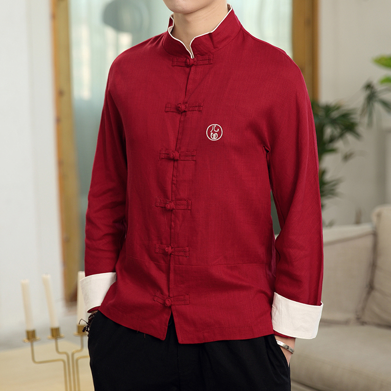 New Men Shirts Cotton Linen Tops Tang Suit Chinese Style Long Sleeve Casual Shirt Kung Fu Traditional Clothes Multi Colors Retro