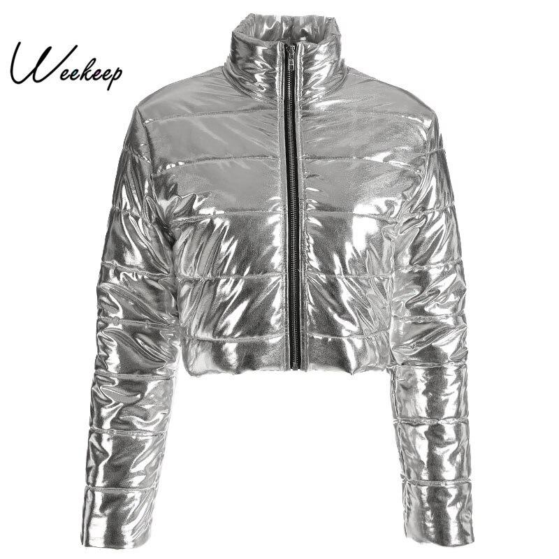 Weekeep Women Turtleneck Long Sleeve Winter Coat Women Fashion Streetwear Cropped Silver   Parka   Women 2018 Jacket And Coat