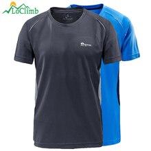 LoClimb Elastic Outdoor Camping Hiking T-Shirt Men Summer Quick Dry Tshirt Fishing Climbing Trekking Men's Sport T Shirt AM265