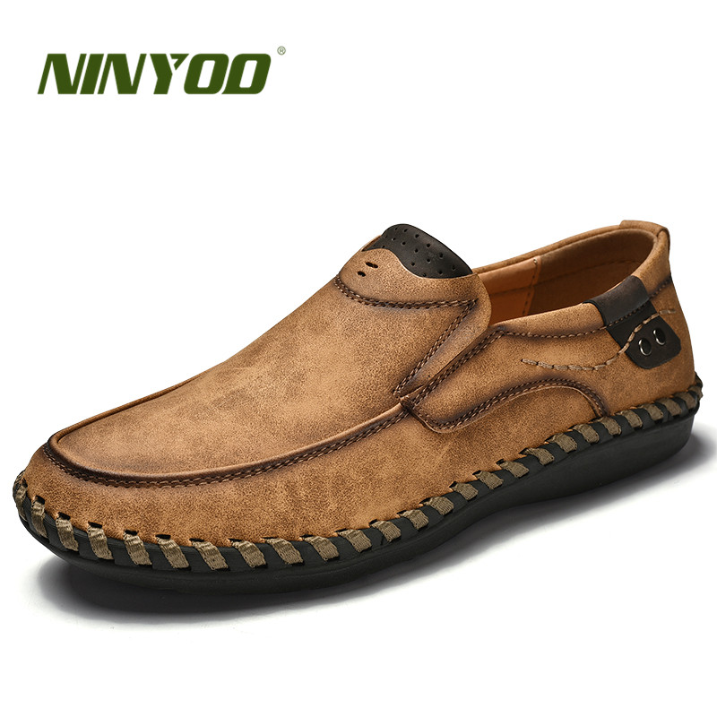 NINYOO Handmade Brand Shoes Men Genuine Leather Casual Shoes - Men's Shoes