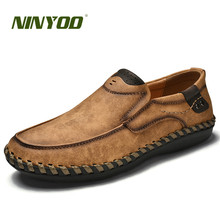 NINYOO Handmade Brand Shoes Men Genuine Leather Casual Breathable Loafers Slip On Plus Size 45 46 Flats Summer