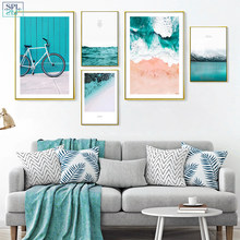 SPLSPL Nordic Decoration Blue Sea Posters And Prints Wall Art Canvas Painting Lienzos Poster Canvas Art Unframed Picture(China)