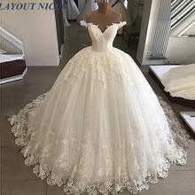 Elegant White Off Shoulder Wedding Dress Ball Gowns Lace Bottom Appliques Bridal Formal Long Puffy Dresses Custom