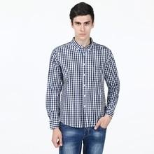 New Slim Fit Serried Plaid 100 Cotton Blue Casual Shirt Men s Social Dress Shirt Full