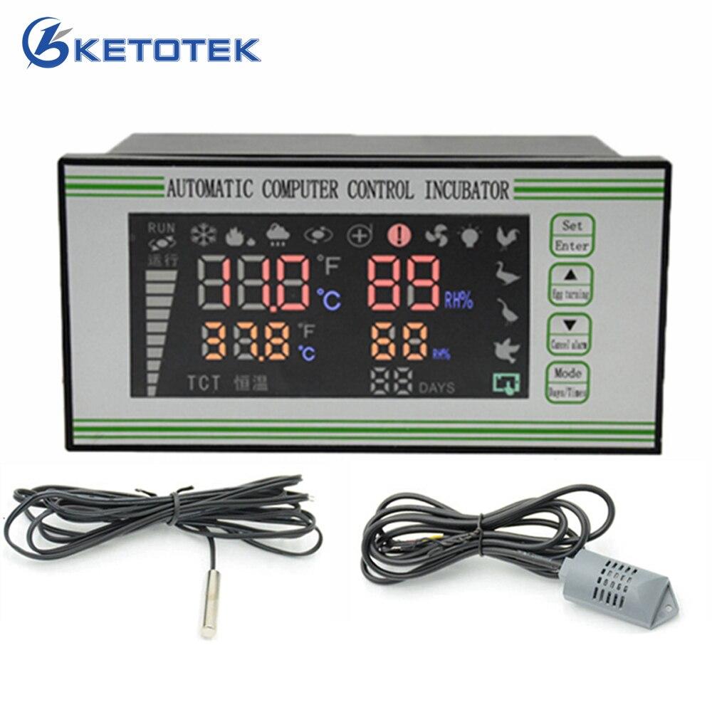 Contrôleur Intelligent automatique d'humidité de la température pour le contrôle d'hygromètre de régulateur de Thermostat d'air d'incubateur d'oeufs avec des capteurs