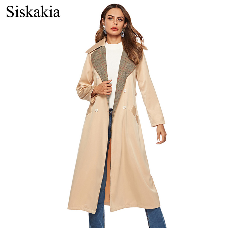 Siskakia Women Long Coat Winter 2018 Double Breasted Plaid Patchwork   Trench   Coats Khaki Slim Sash with 2 Pockets Outwear Female