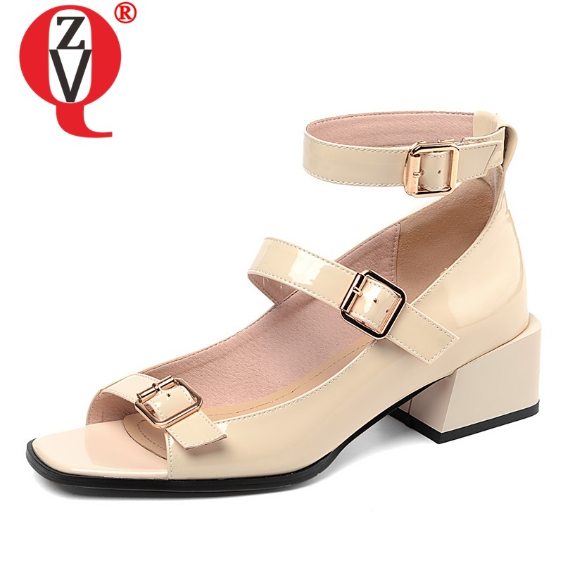 ZVQ shoes woman summer newest concise casual patent leather open toe woman sandals outside med square
