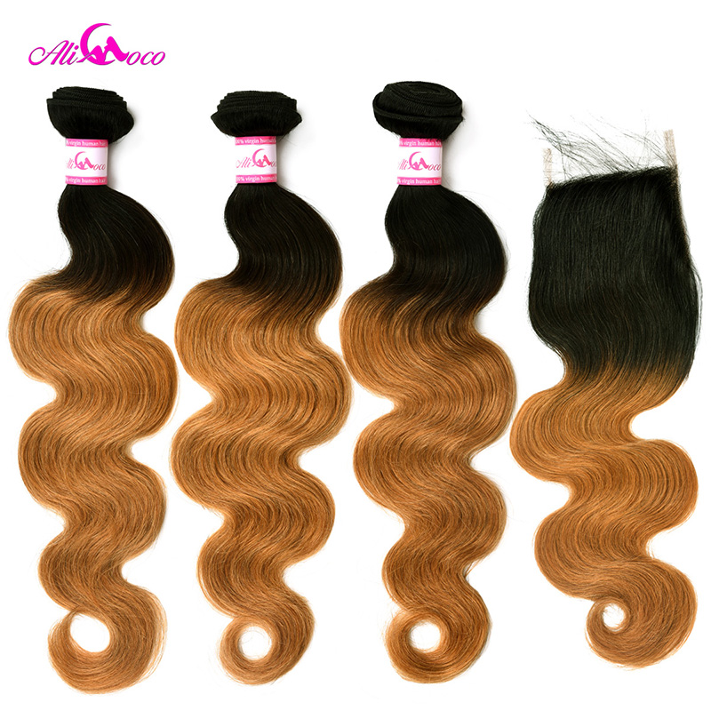 Ali Coco Brazilian Body Wave 1B/27 3 Bundles with Closure 12-28 inch Human Hair with Closure Remy Hair Bundles Extensions