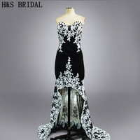 Real Photo 2016 Custom Made Vestidos Short Front Long Back Prom Gown Black With White Lace