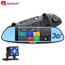 """Junsun 3g 7 """"Câmera do carro DVR GPS Do Bluetooth Espelho Retrovisor de Lente Dupla Espelho DVR cam Traço Gravador de Vídeo FHD 1080 P Automóvel"""