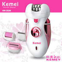 KEMEI 4 In1 Depilator Rechargeable Multifunctional Women Shaver Electric Epilator Hair Removal Foot Care Tool