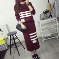 2016 New Arrival Women's Autumn Clothes Knitting Letter Striped Pullover Top And Skirt Set Female Casual Suits 2 Colors In