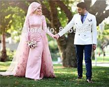 Hijab Lace AppliquesTurkish Evening Gowns Hochzeitskleid Robe De Mariage Long Sleeve Muslim Evening Dress Turkey Vestido Festa