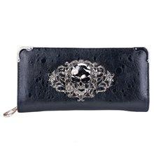 Модный крутой ретро кошелек с черепом для женщин Винтажный Клатч черный