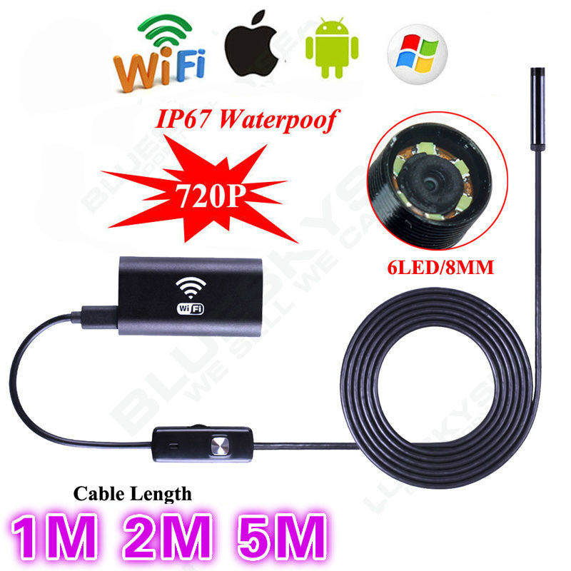 Blueskysea 6LED HD 720P 1M / 2M / 5M WiFi Endoscope Waterproof Inspection Camera for ios and Android PC Free Shipping free shipping hd 720p 9mm 3 5m android endoscope 6 led waterproof professional microscope camera se u9