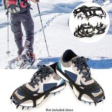Анти-скольжения подножка Спайк открытый марганца Сталь Альпинизм прочный бахилы 18 зубьев ледолазание