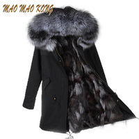 2017 New Women Winter Coat Army Green Thick Parkas Real Fox Fur Lining Plus Size Real
