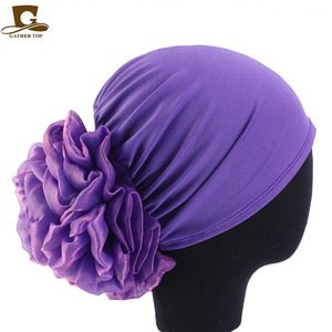 Image 2 - Новинка, Женский тюрбан с большими цветами, шапка, мусульманский головной платок, головной убор с наполнителем, женская мягкая женская шапка, Мусульманский Стиль