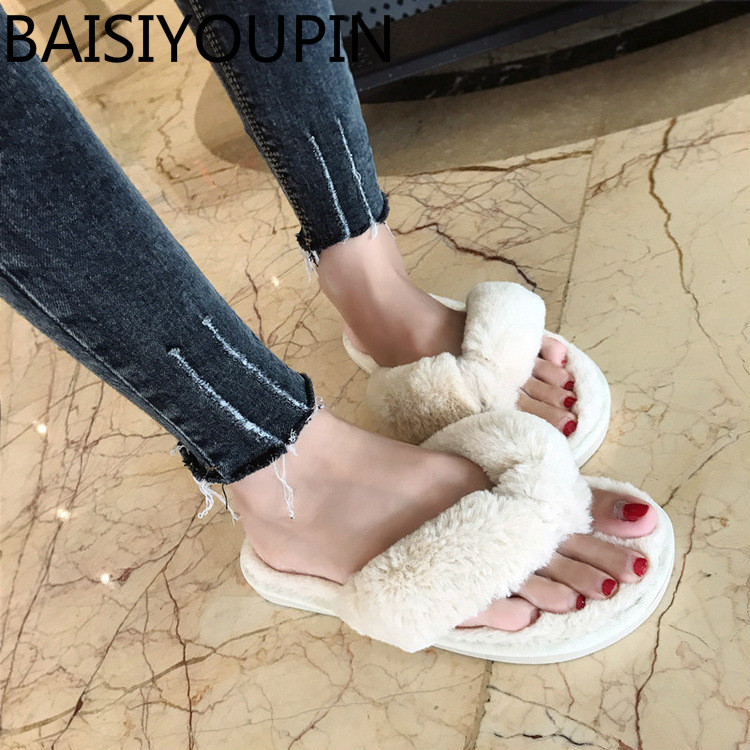 2018 Korean Long Hair Slippers Women Shoes Fashion A Word Towed Flat Bottomed Plush Slippers Soft Female Flip Flops Women Slides coolsa women s spring furry slippers red cherry plush indoor flat slippers women s faux fur flat bling slippers women s slides