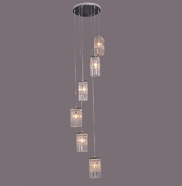 цена на Stairs lights metal Pendant lights crystal staircase crystal rotating hotel living room Pendant Lights 5/6/7/8 heads lamp ZAG