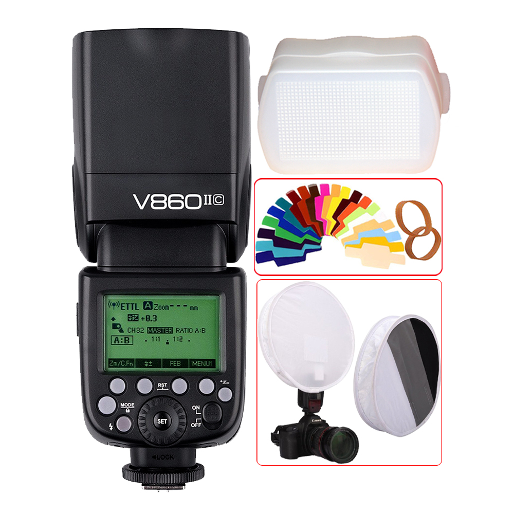 Godox V860II V860II-C E-TTL HSS 1/8000s Li-ion Battery Speedlite Flash for Canon 800D 760D 750D 80D 70D 60D 1300D 1200D 650D 1DS godox v860ii v860ii c e ttl hss 1 8000s li ion battery speedlite flash for canon 800d 760d 750d 80d 70d 60d 1300d 1200d 650d 1ds